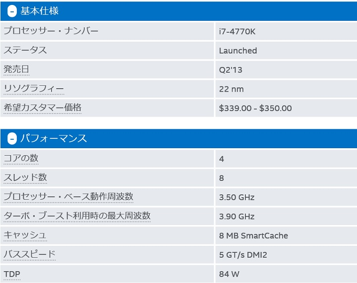Intel Core i7 4770K仕様1