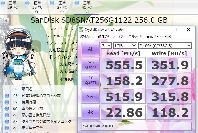 SandiskZ400でCrystalDiskMark1GiB