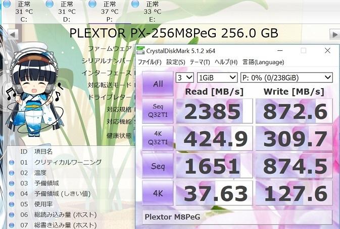 PLEXTOR M8PeG-06 256GBでCrystalDiskMark 1GiB