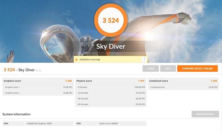 3DMark Sky DiverをCore i5 4690K