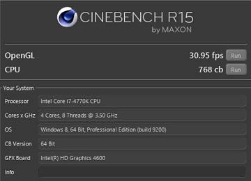 CINEBENCH R15でCore i7 4770K
