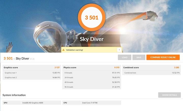 3DMark Sky DiverをCore i7 4770K