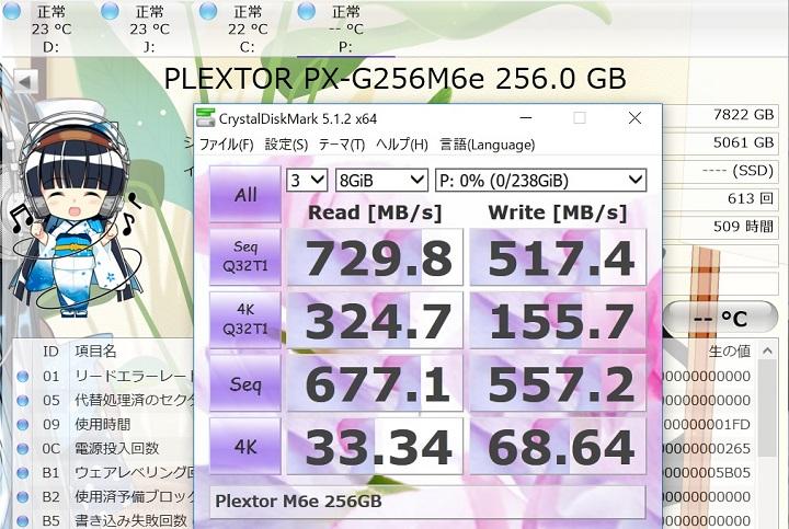 PX-G256M6eのCrystalDiskMark8GiB