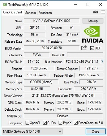 EVGA GeForce GTX 1070 FTW ACX 3.0のBIOS更新前1