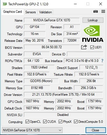 EVGA GeForce GTX 1070 FTW ACX 3.0のBIOS更新後1