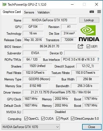 EVGA GeForce GTX 1070 FTW ACX 3.0のSlave側BIOS更新前