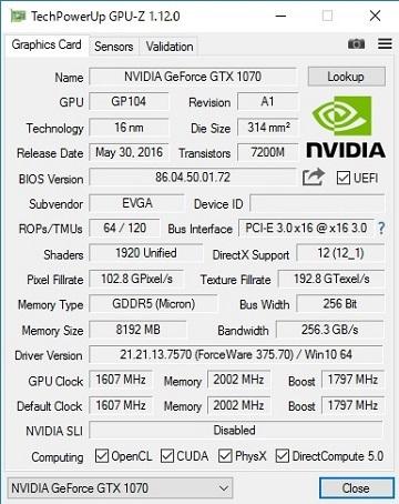 EVGA GeForce GTX 1070 FTW ACX 3.0のSlave側BIOS更新後