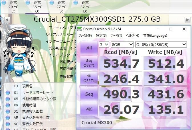 CT275MX300SSD1でCrystalDiskMark8GiB結果