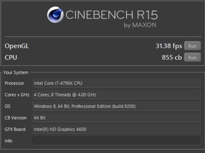 Core i7 4790KのCINEBENCH結果