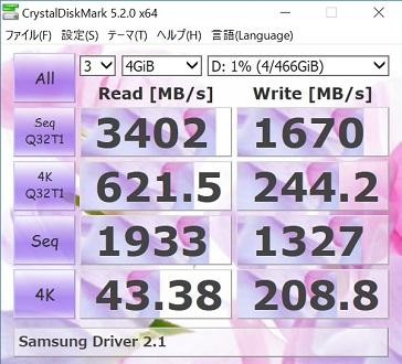 Samsung 960EVO500GBでSamsung NVMe Driver2.1を使ってCrystalDiskMark4GiBの結果