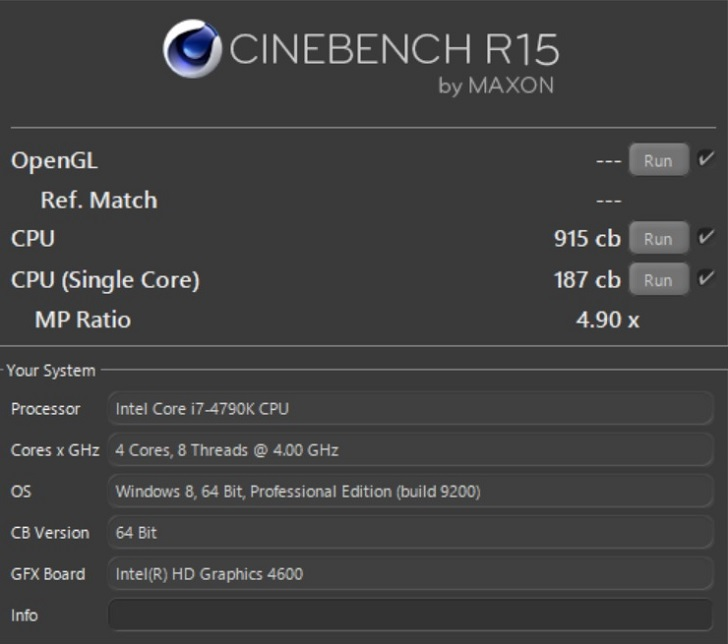 Intel Core i7 4790KのCINEBENCH結果