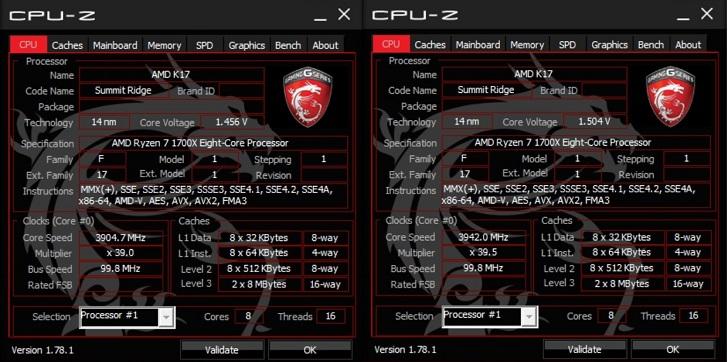 AMD Ryzen7 1700XでCPU-Z