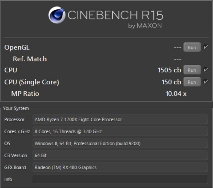 AMD Ryzen7 1700Xの定格クロックでCINEBENCH結果