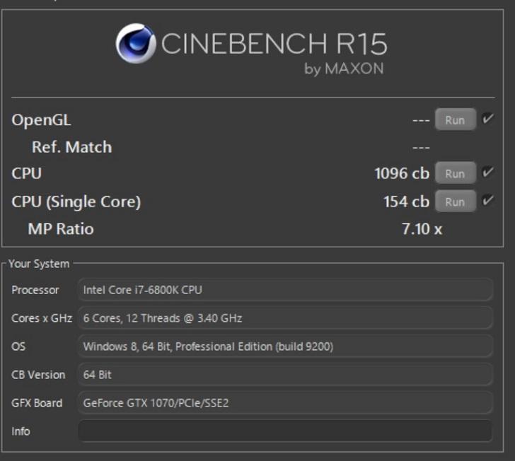 Intel Core i7 6800KのCINEBENCH結果