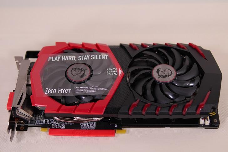 MSI Radeon RX 480 GAMING X 4G本体表から、その1