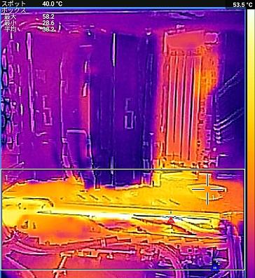 3DMark中の最高温度時のFLIR ONEで撮影(アイドル中)