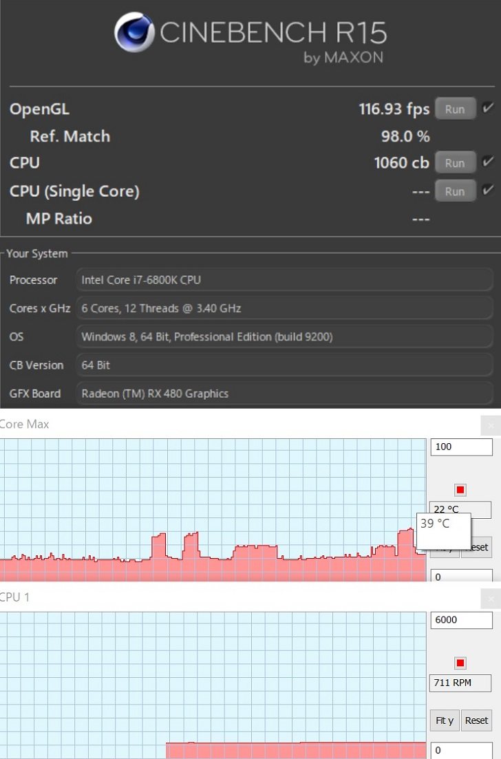 Intel Core i7 6800KのOS電源プラン、バランスでのCINEBENCHフルコアの結果