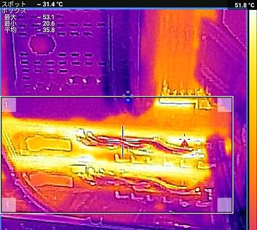 MSI Radeon RX 480 GAMING X CFXでアイドル中のFLIR ONEで温度