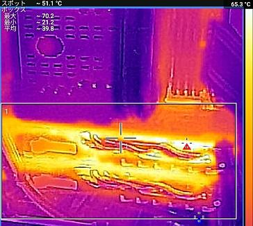 MSI Radeon RX 480 GAMING X CFXで3DMark中のFLIR ONEで温度