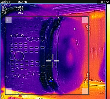 Intel Core i7 6800Kでアイドル中のFLIR ONEで温度