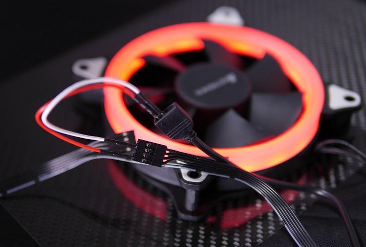 AMZtronics 12cm RGBカラーファン、赤