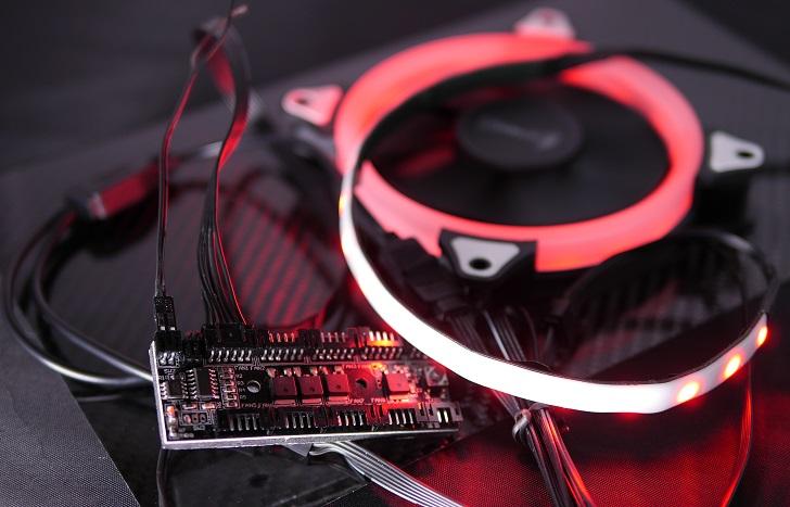 AMZtronics 12cm RGBカラーファンにRGB LED追加、その4