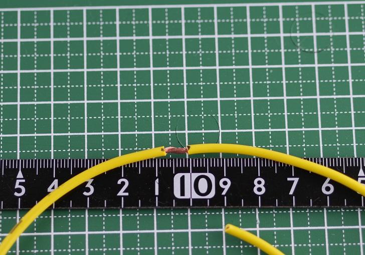 エーモン配線コード1.25sqにエーモン スプライス端子Mを圧着、その1