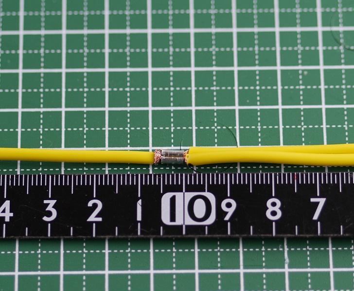 エーモン配線コード1.25sqにエーモン スプライス端子Mを圧着、その4