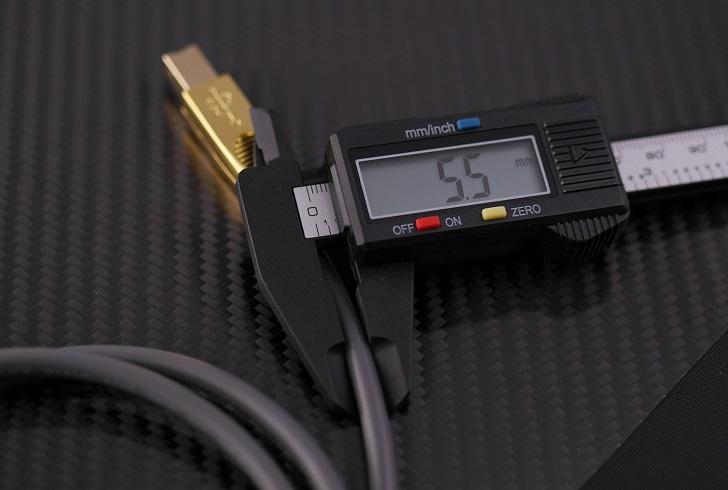 LINDY 25年保証 プレミアムゴールド USB2.0ケーブル タイプAオス-Bオス グレー 1m、ケーブルの太さ