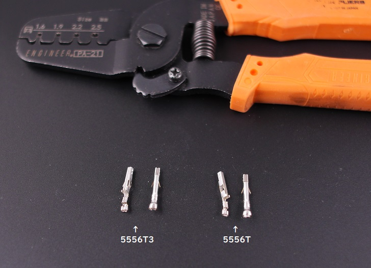 エンジニアPA-21で電線無し、molex Terminal 5556T3と5556Tを圧着