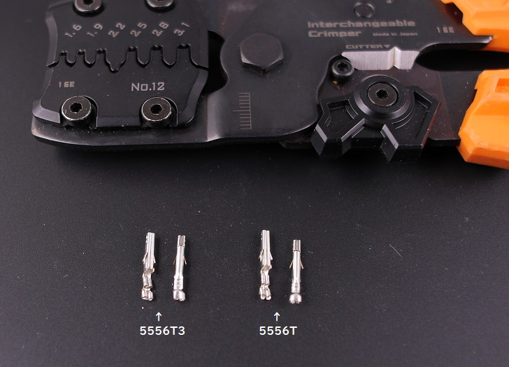 エンジニアPAD-12で電線無し、molex Terminal 5556T3と5556Tを圧着