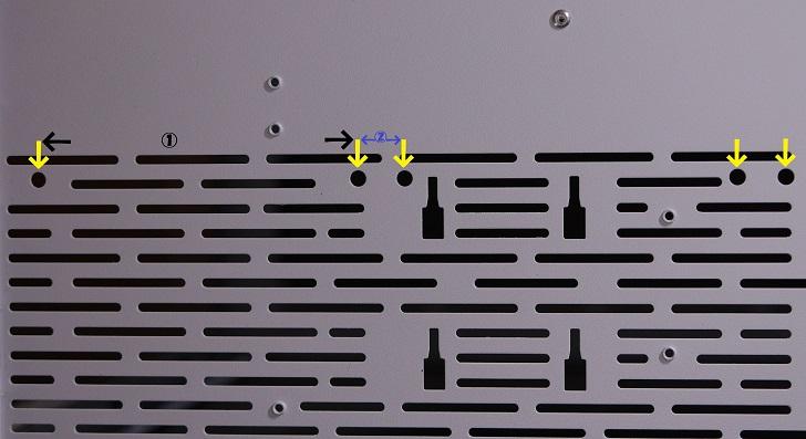 Lian-Li O11 Dynamicの底、ファン取り付け穴
