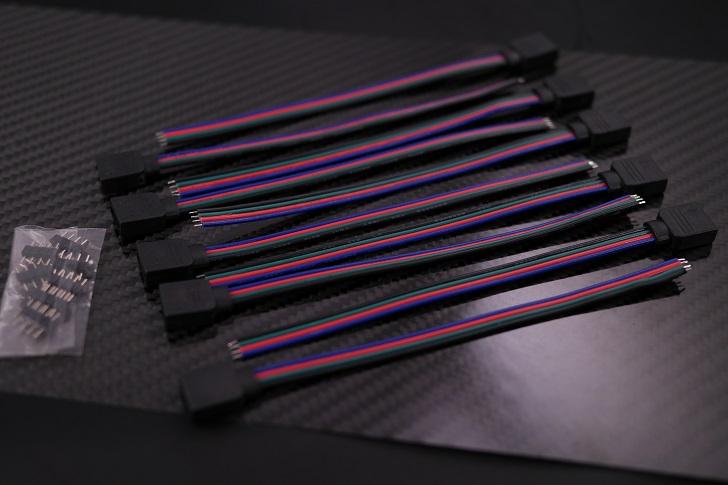 10個/パック5.9インチ/ 150 mm 4ピンRGB LEDストリップライト延長ケーブルコネクタ開封