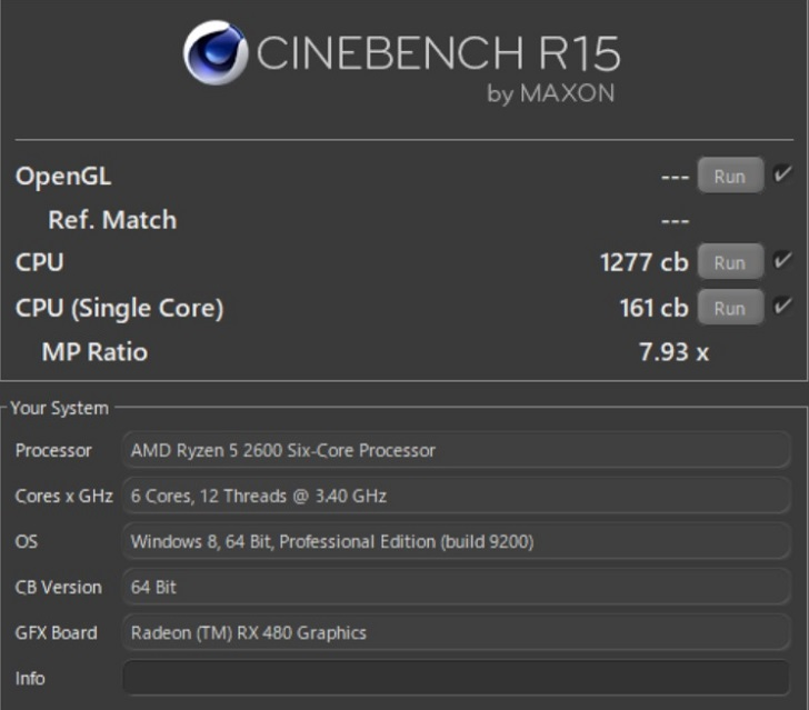Cinebench R15の結果