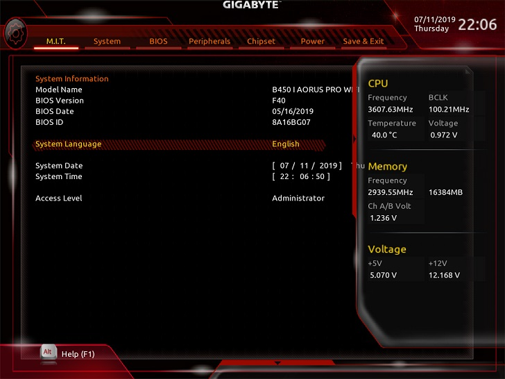 B450I AORUS PRO WIFIのUEFI(BIOS)画面(F40)