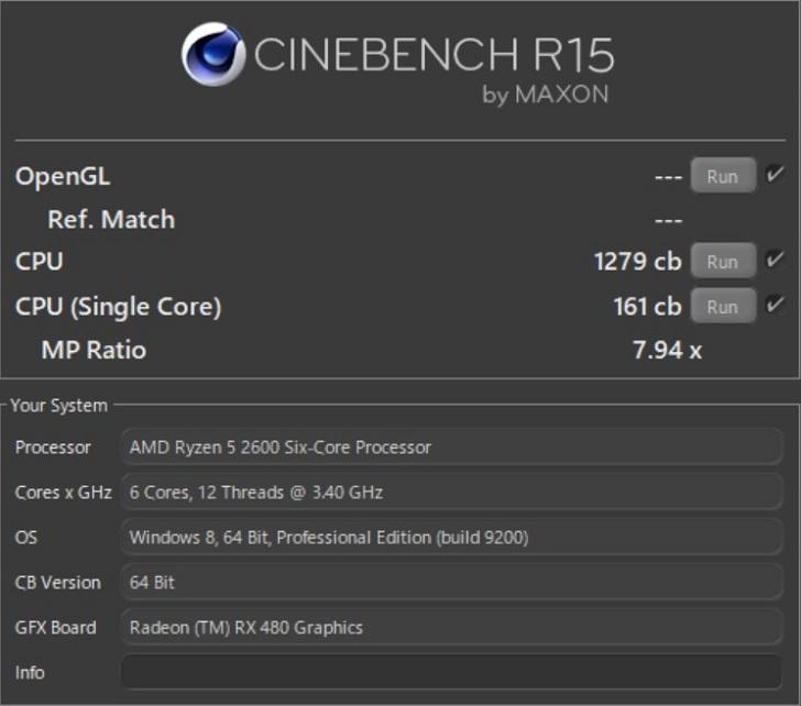 AMD Ryzen 5 2600でCINEBENCH R15の結果