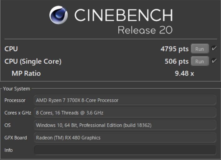 AMD Ryzen 7 3700XでCINEBENCH R20の結果