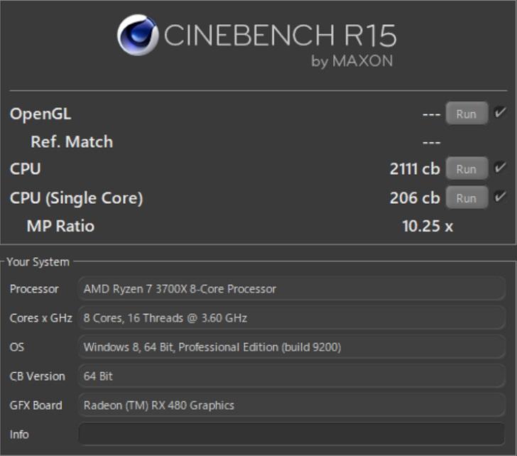 AMD Ryzen 7 3700XでCINEBENCH R15の結果