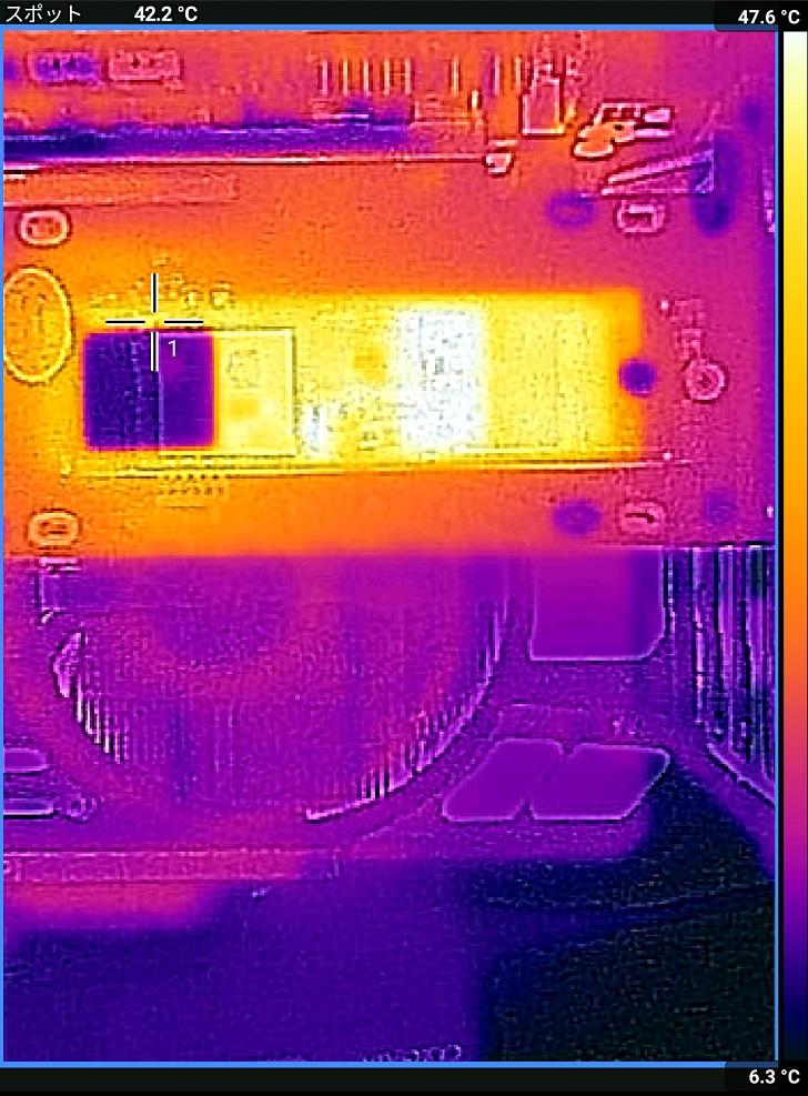 AINEX AIF-08+ADATA XPG SX8200 Pro CrystalDiskMark中の温度、その1