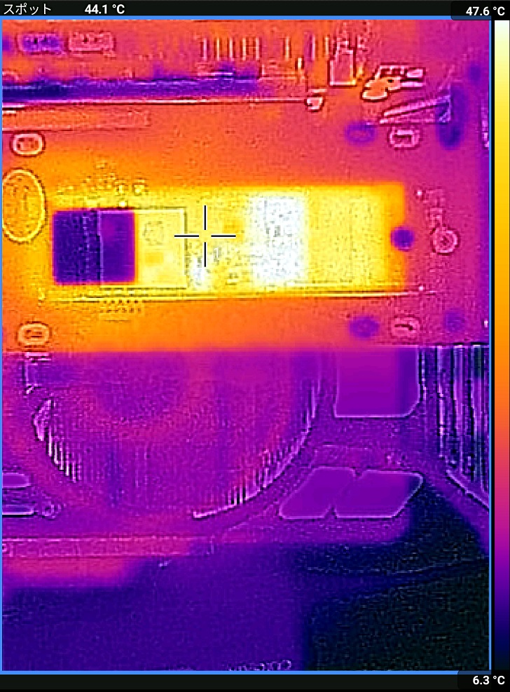 AINEX AIF-08+ADATA XPG SX8200 Pro CrystalDiskMark中の温度、その2